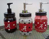 University of Alabama Soap or Hand Sanitizer Jar - Pick Jar Color & Polka Dots - Houndtooth Design - 16oz Mason Jar. $8.99, via Etsy.