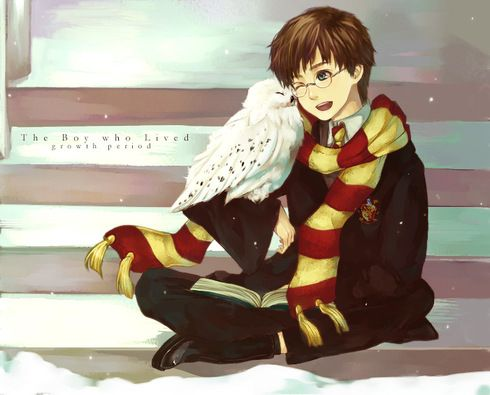 This drawing makes me think of the young Harry and Hedwig Harry Potter Character: Harry and Hedwig. Thank you to the creator.