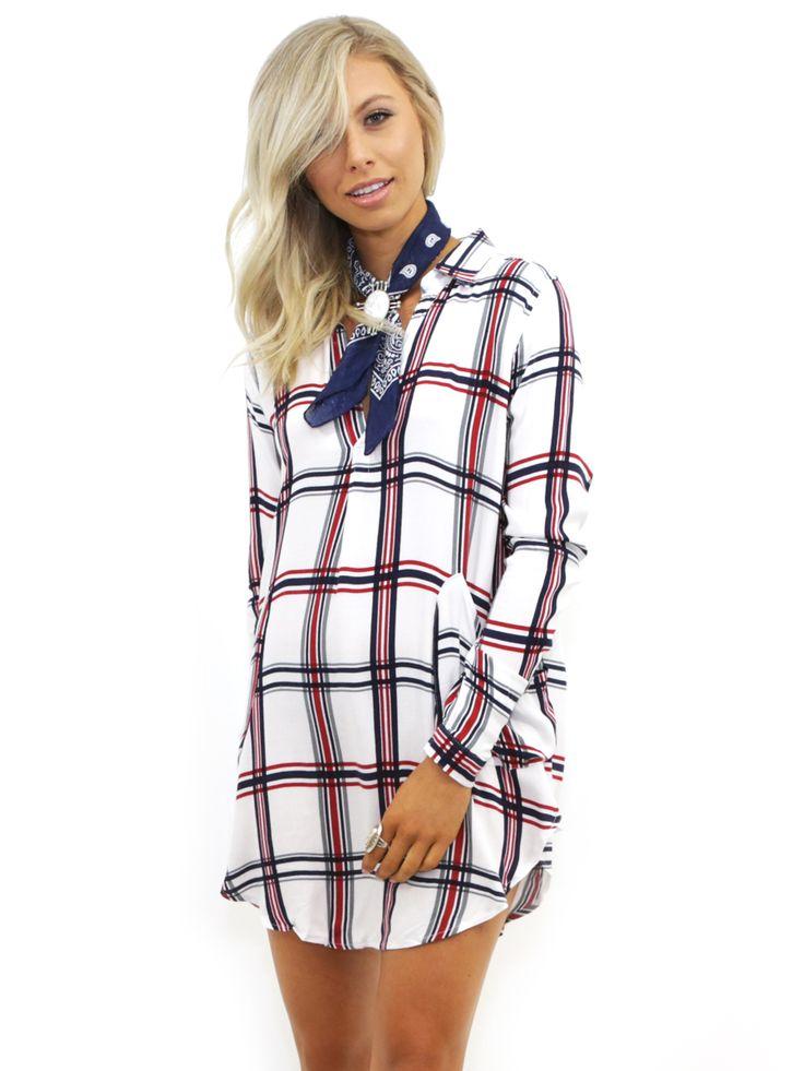 West Coast Wardrobe Liberty Tunic Dress with Pockets in White/Red/Navy Small West Coast Wardrobe Sale