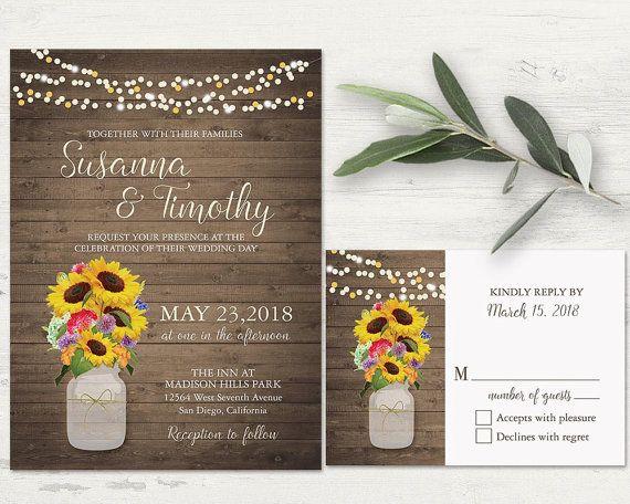 Rustic Wildflower Wedding Invitation Set Rustic Wedding Mason