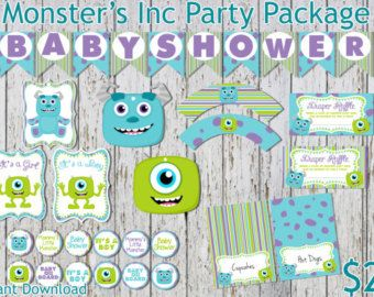 Monsters Inc Inspired Baby Shower GamesPackage by RockinRompers