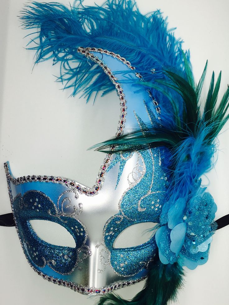 Teal and Silver Mardi Gras Masquarade mask with ribbon ties.