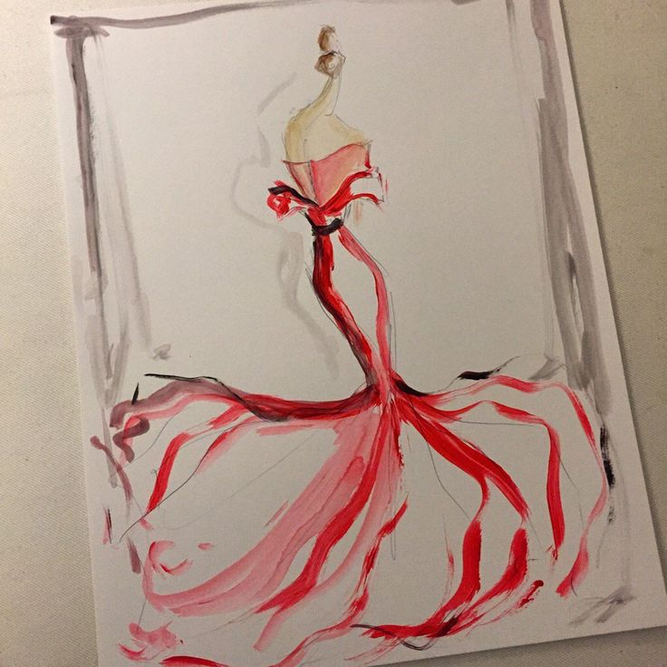 Sketch of the day: red organza and chiffon gown. Sketch prints and originals available at ChristianSiriano.com #cssketch
