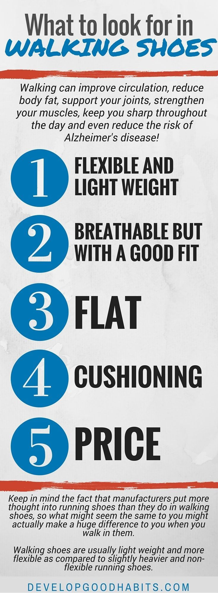 5 things you need to look for in a good pair of walking shoes. | Walking for fitness | Walking workouts | Walking exercise