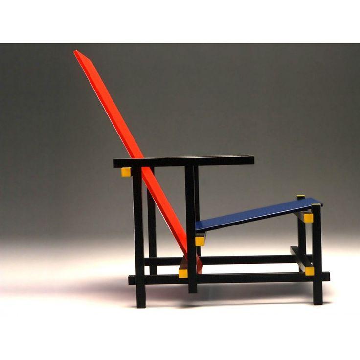 Red and Blue, Gerrit Rietveld Bauhaus Stuhl Muebles y