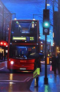 Oxford Street Blues, London by artist Michael John Ashcroft. A #workofart found on the FASO Daily Art Show - http://dailyartshow.faso.com