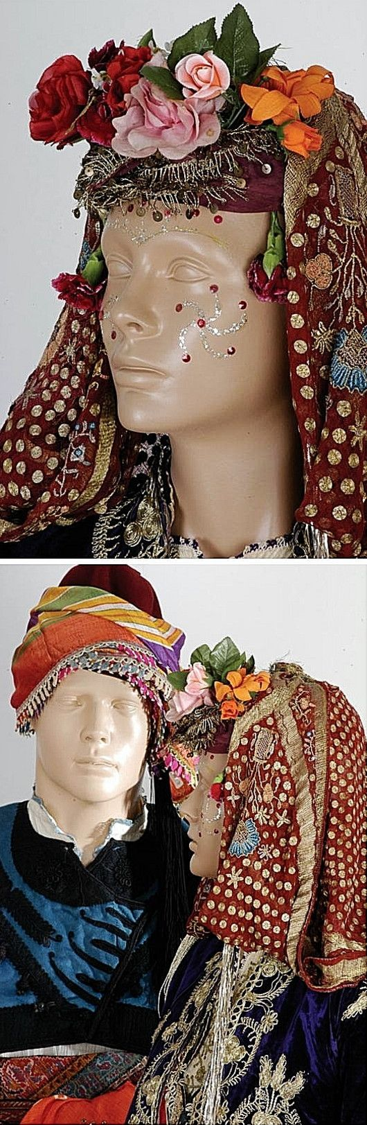 Traditional bridal headgear and facial adornment from the Bodrum area (Muğla province), ca. 1900-1925.