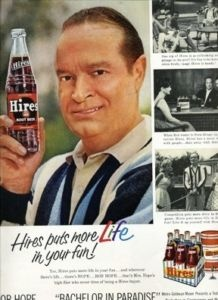1961 ad for Hires Root Beer featuring Bob Hope