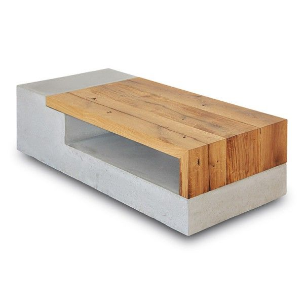 "PASTARRO Betoncouchtisch ""Pernstein"" - Altholz und Beton aus regionaler, nachhaltiger Produktion 