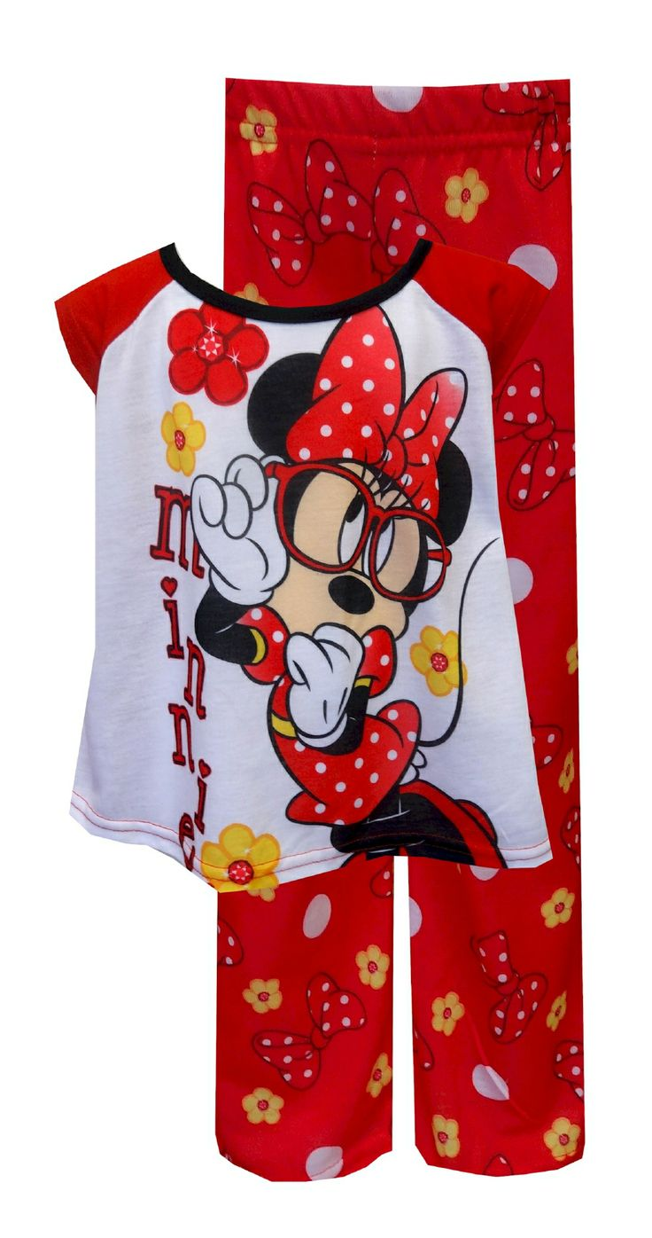 Disney Minnie Mouse Red Pajamas So cute! These flame resistant pajamas for girls features Disney's Minnie Mouse wearing her gla...