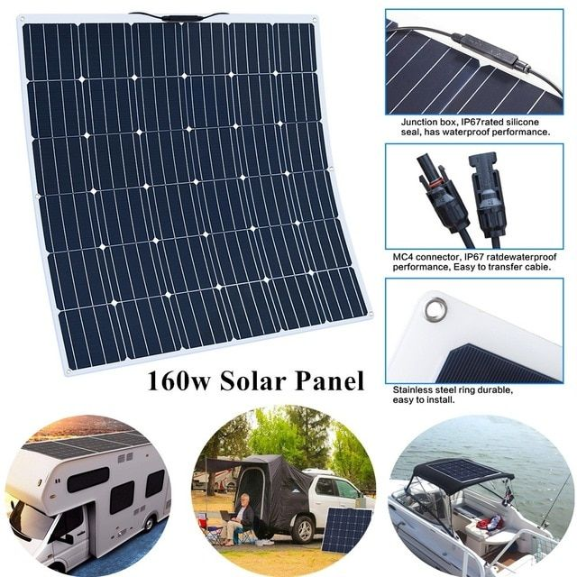 160w 18v Flexible Monocrystalline Solar Panel 12v Battery Rv Boat Car Home Solar Power Ultra Lightwe Solar Power House Monocrystalline Solar Panels Solar Power