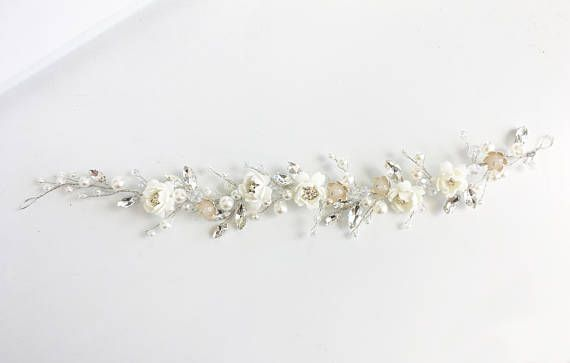 White bridal hair tiara ♥ Length: about 11.8 inches (30 cm) ♥ Made from fauamir flowers, rhinestones, crystals, artificial pearls and small steel flowers ♥ Can be worn with straight or curled hair down or in a hairstyle ♥ Perfect accessory for weddings and other formal occassions such as