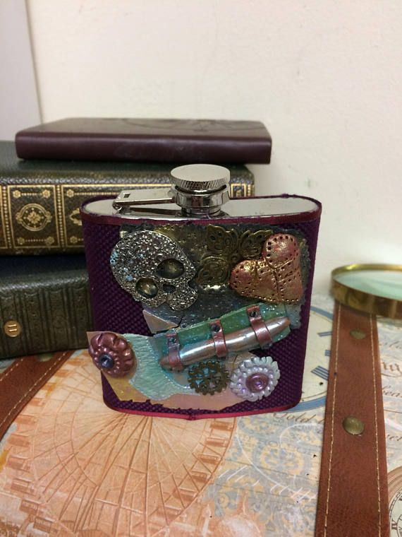 Steampunk Hip flask Cog hip flask Gift for him Decorated