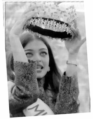 Aishwarya at an Interview in 1994 along with her Miss World Crown.