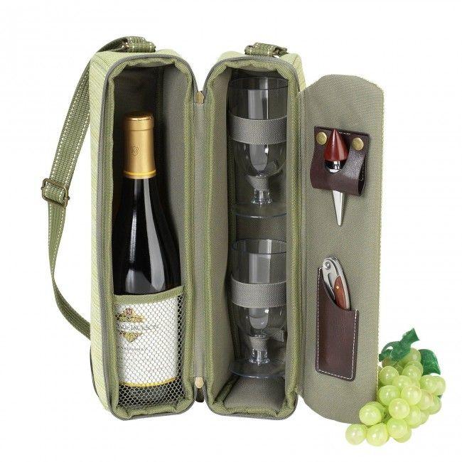Bolsa para garrafa de vinho - acompanha 2 taças de acrílico, 2 guardanapos e saca rolhas - Verde Azeitona - Amantes do Vinho - Casa e Cozinha