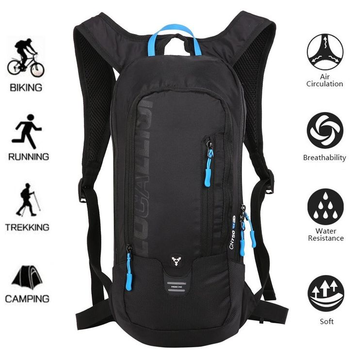 LOCALLION Cycling Backpack Biking Backpack Riding Daypack Bike Rucksack Breathable Lightweight for Outdoor Sports Travelling Mountaineering Hydration Water Bag men women 10L Black. BREATHABLE & COMFORTABLE: Integrated breathable mesh pad on the back for maximum breathability and heat dissipation. Made of lightweight tear resistant nylon fabric, so it's very light and durable. EASY DRINKING SYSTEM: Can be used as a drinking bag, suitable for 2 liters water bladder, special hole designed…