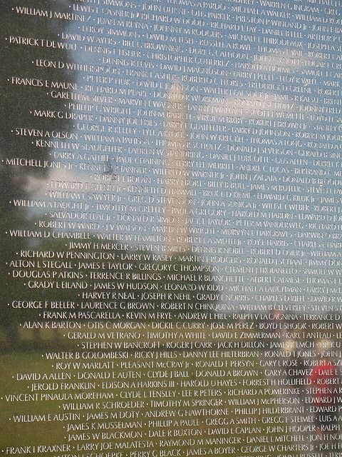 Vietnam Veterans Memorial reflects Washington Monument - Washington DC