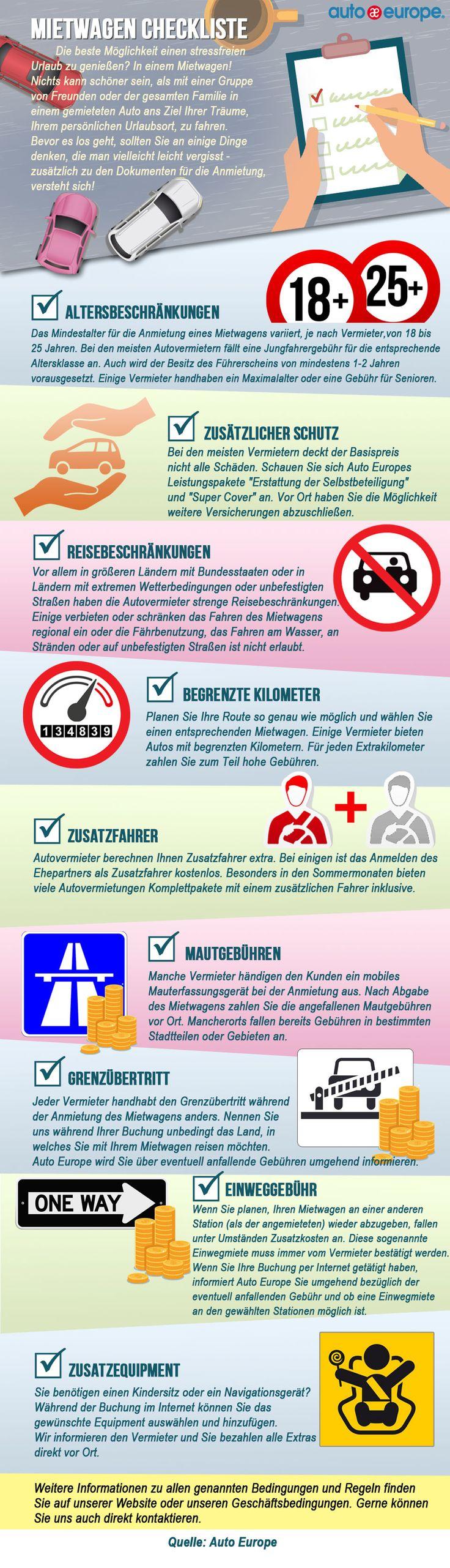 Infografik: Mietwagen Checkliste - Hier geht's zu unseren Infografiken: www.autoeurope.de