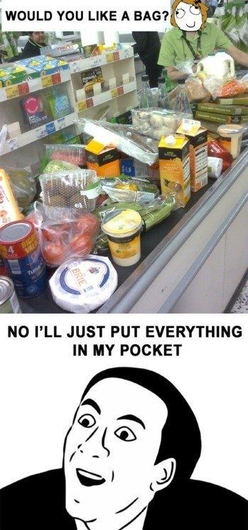Omg - this happens to me every time! Except its breakables and glass they think I don't need a bag for!!