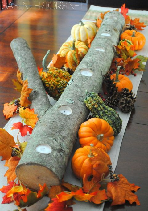 Autumn Log Centerpiece Tutorial: Blogger Jenna Burger used a log from a fallen tree in her neighborhood as the base of this rustic centerpiece, then drilled holes along the center for tea lights.