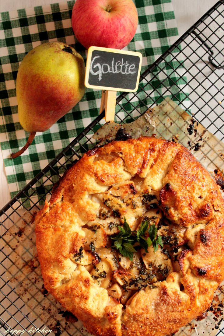 pear apple carmel and mint galette