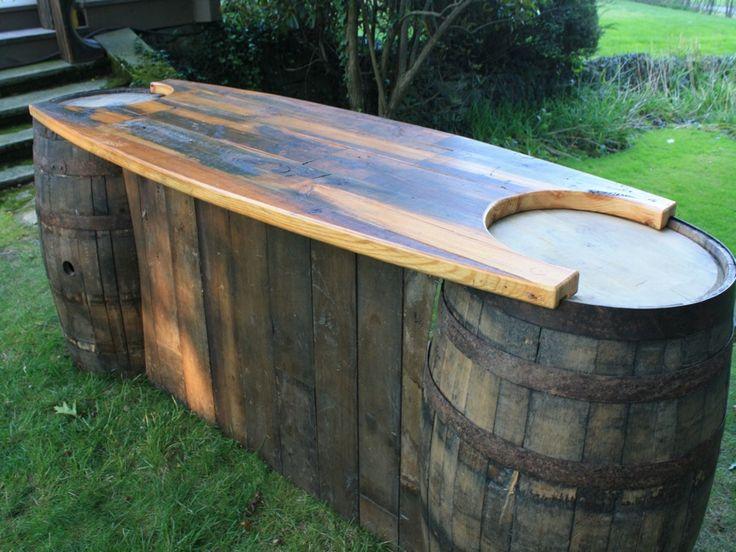 195 best decor ideas images on pinterest marriage for Diy whiskey barrel bar