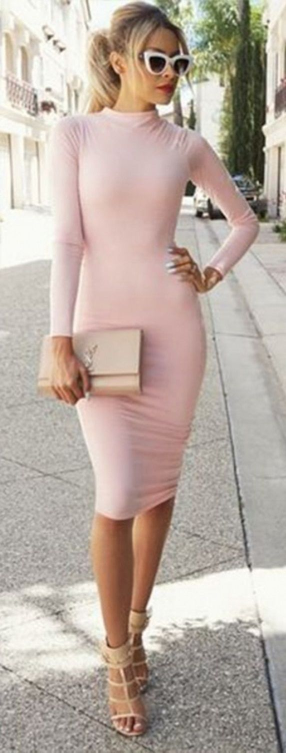 Sexy Women Ladies Retro Long Sleeve Bodycon Party Evening Pencil Dress
