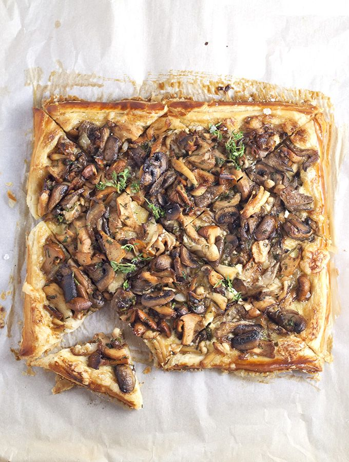wild mushroom tart - mushrooms simply sautéed in a little butter and olive oil with a few fresh herbs on top a creamy, cheesy puff pastry crust