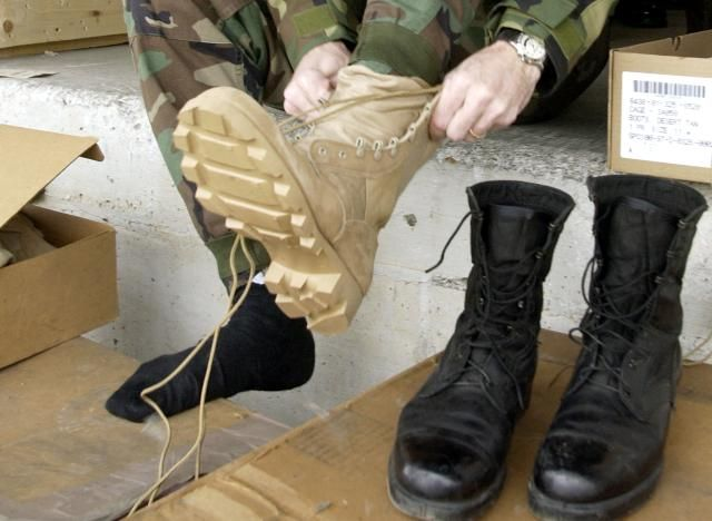 How to clean and care for tan desert combat boots.