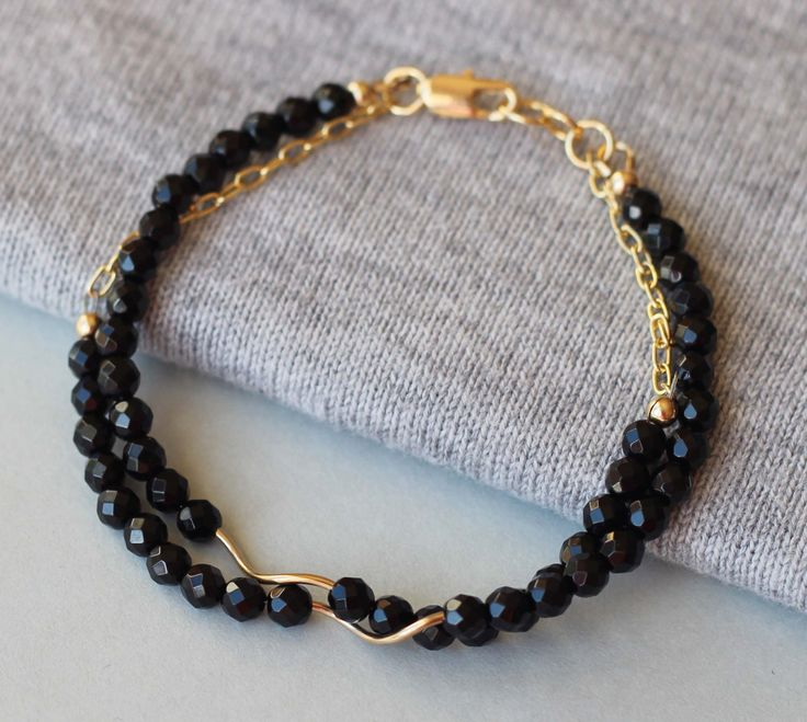 Black Onyx Gemstones with Gold Filled Tubes and Chain Bracelet by ILgemstones on Etsy