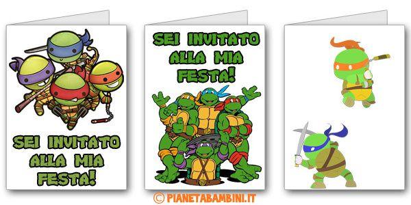 Biglietti di inviti delle Tartarughe Ninja