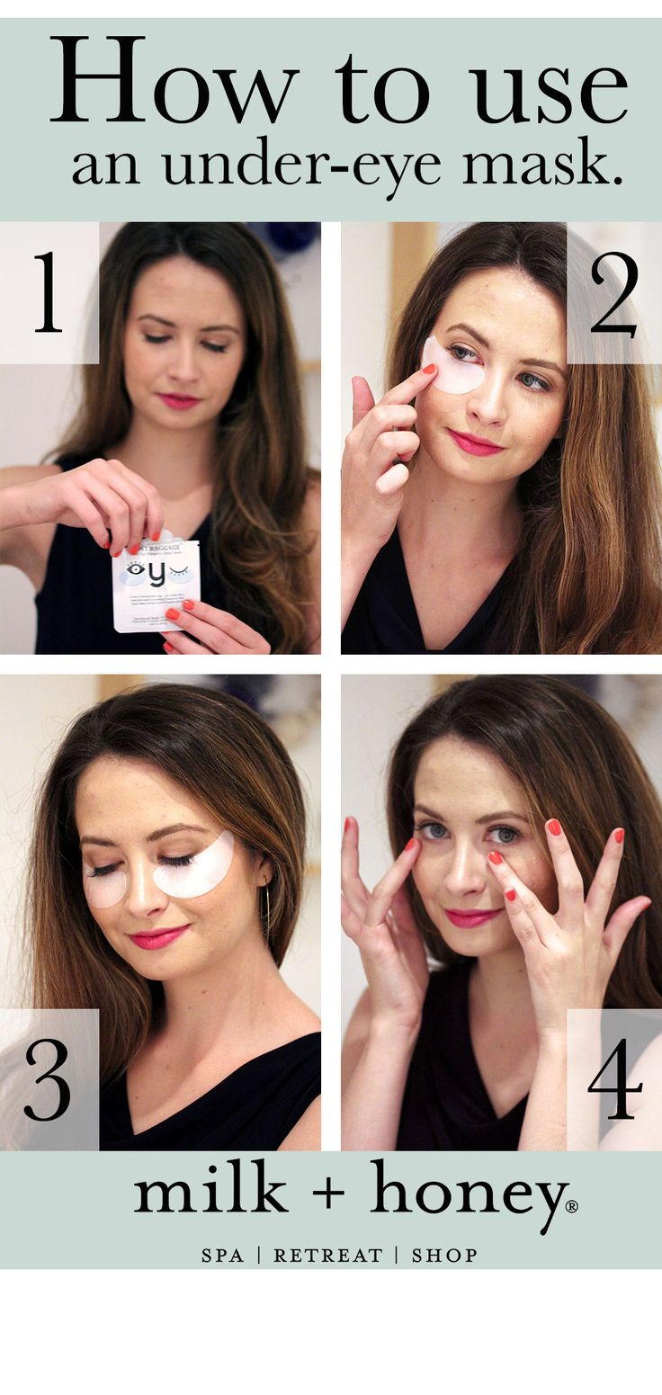 milk + honey shows you how to use an under-eye mask. #facialmasks #masks #skincare #biorepublic #lostbaggage #howtow