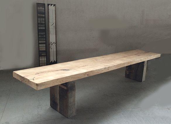 tavolo in legno massello realizzato con un' unica asse in rovere di 80 cm x 430 cm, destinazione valdorcia.... SESTINI E CORTI