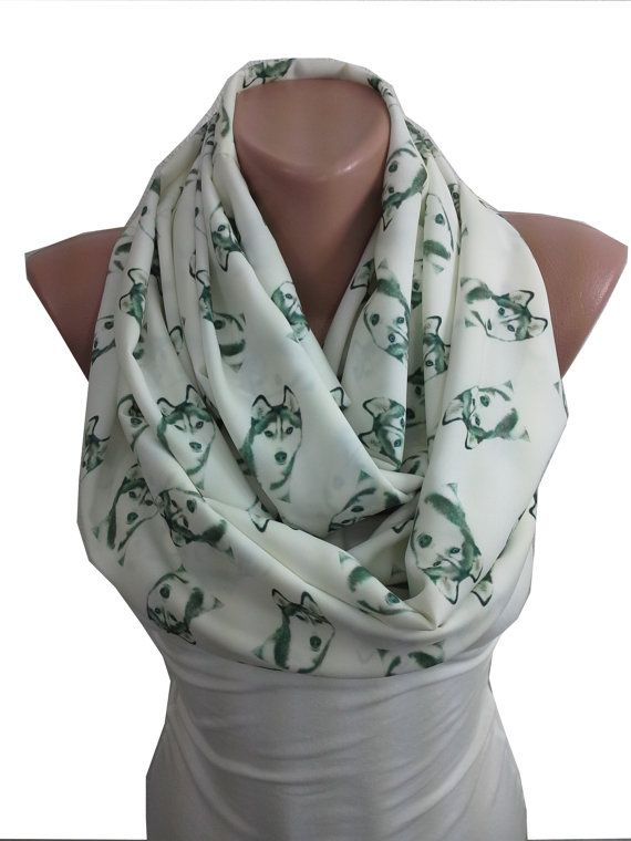 Dog Scarf Siberian Husky Infinity Scarf Mothers Day from Daughter Son Husband…