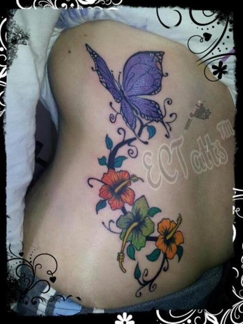 Purple Hibiscus Tattoo: 44 Best Hibiscus And Butterfly Tattoos Images On Pinterest