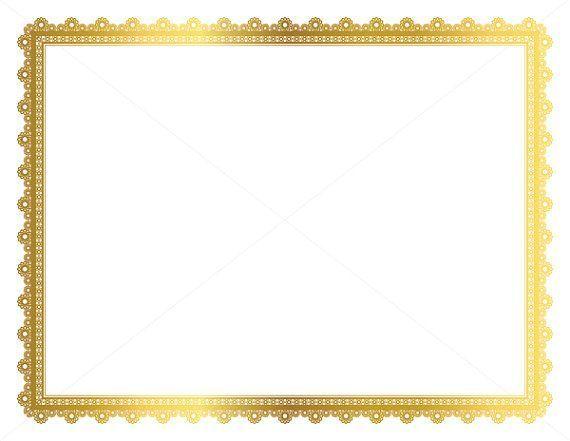 Gold Decorative Frame, Page Border, Digital Frame, Border Paper, Digital Page Border, Gold Border, Vintage Frame, Certificate Frame.