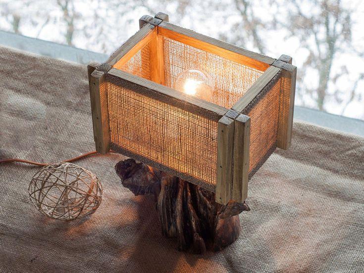 Driftwood lamp, Burlap lamp shades, Wooden Lamp, Rustic wood lamp, Table wooden lamp, Desk Light, Handcrafted, Wood lamp, Unique wood lamp