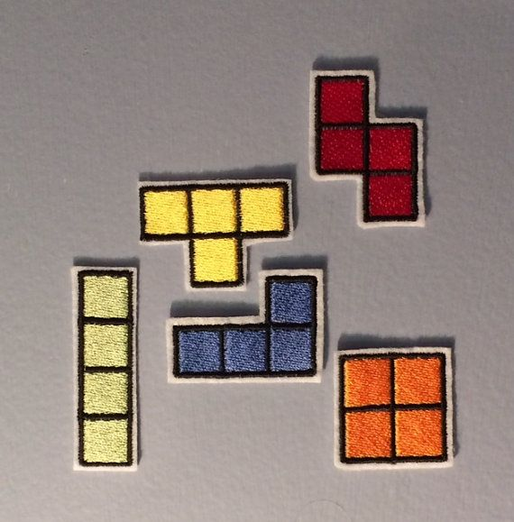 Tetris Set of Five Nintendo Throwback Embroidered by OKsmalls