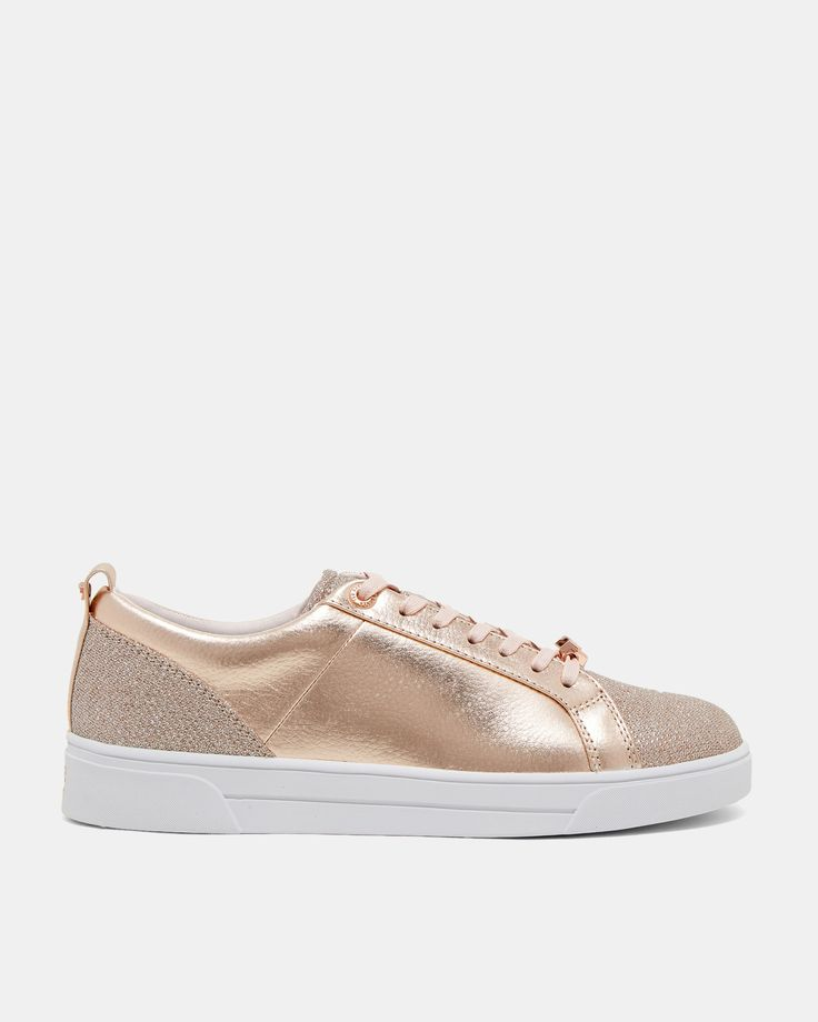 Ted Baker Leather glitter tennis trainers Rose Gold