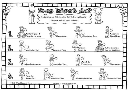 Arbeitsblattfür Hörproben aus dem Ballettvon Peter Illjitsch TschaikowskyFreie Wahl der Musikbeispielezum AnkreuzenPassend dazu gibt es-) Bildkarten mit Beschriftungen zum Stück:https://de.islcollective.com/resources/printables/worksheets_doc_docx/nussknacker__m%C3%A4usek%C3%B6nig__peter_illjitsch_tschaikowsky/kulturelles-leben/84061-) Bildkarten ohne Beschriftung & Wortkarten zum Stück:https://de.islcollective.com/resources/prin...