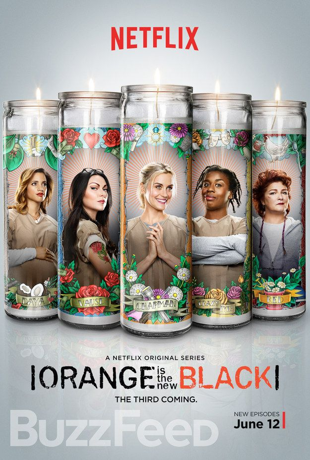 "The brand new poster for Orange Is the New Black Season 3 features Daya, Alex, Piper, Suzanne, and Red on saint candles…and if you look closely, there are a whole lot of memorable items from their pasts. | There Are A Whole Lot Of Easter Eggs In This New ""OITNB"" Poster"
