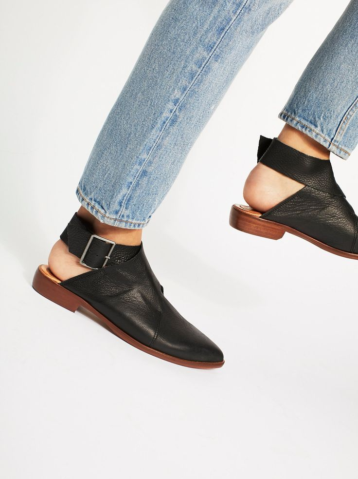 DETAILS: Made from oh-so soft washed leather, these pointed toe flats have  an adjustable wrap strap at the ankle. Stacked heel and a padded footbed  for a ...