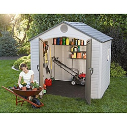 @Overstock.com - Organizing your yard and garage is a breeze with a Lifetime storage shed  Safely store your lawnmower and garden equipment in this outdoor shed  Shed is UV-protected to resist fading and crackinghttp://www.overstock.com/Home-Garden/Lifetime-Outdoor-Storage-Shed-8-x-7.5/4692541/product.html?CID=214117 $950.85