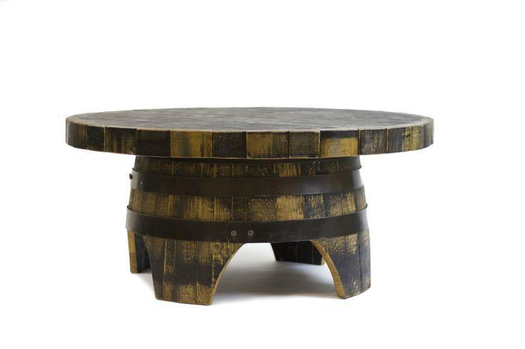 Bourbon Barrel Coffee Table (Round, black, natural oak, brown, green, steel) by HungarianWorkshop on Etsy https://www.etsy.com/listing/191982594/bourbon-barrel-coffee-table-round-black