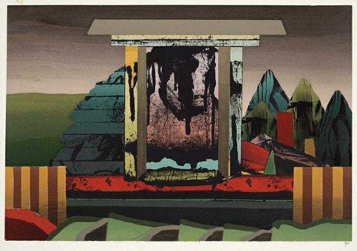 Jan Senbergs | Modern monument in colour, (1975) | Art Gallery NSW | screenprint