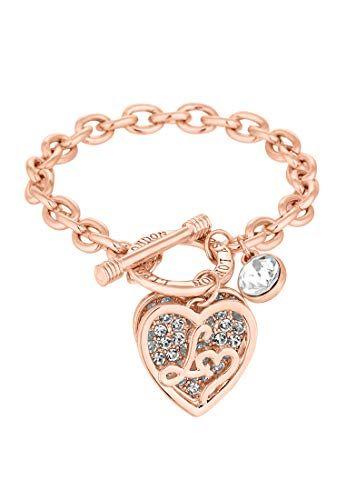 74634c3f704 Lipsy Women s Rose Gold Crystal Encrusted Heart Bracelet