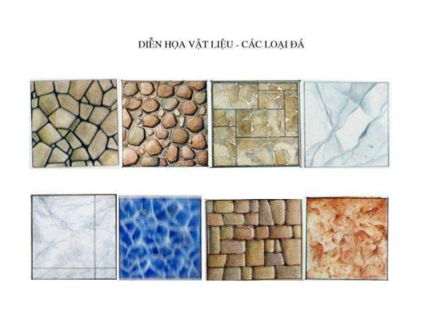 Diễn họa các loại vật liệu bằng màu nước - marker - chì màu