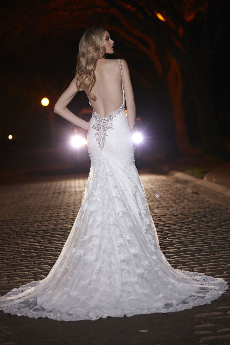 Simone Carvalli Wedding Dress Style 90257 Back View In Lace Lowback
