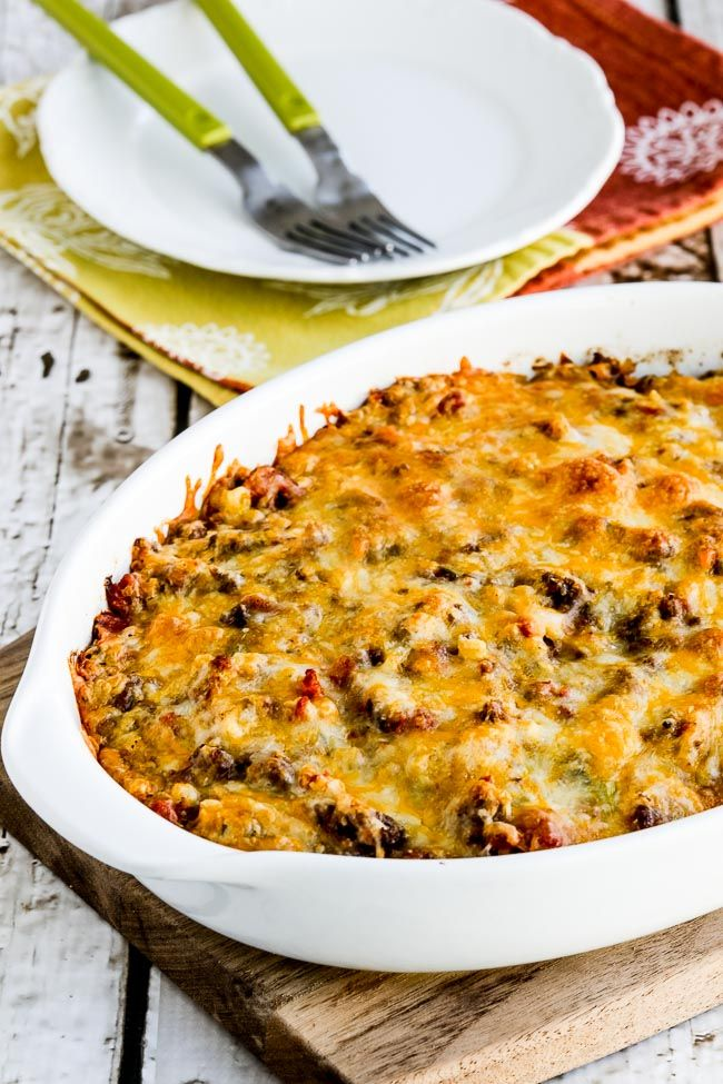 This Cheesy Low Carb Taco Casserole Has Ground Beef Onion Ro Tel Tomatoes Cauliflower Rice Taco Seasoning Low Carb Tacos Low Carb Casseroles Taco Casserole