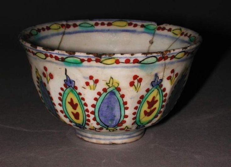 Maker(s) & Production:  Unknown, potter, anatolia, Turkey, Kütahya  Collection:  A.E. Clarke  Category:  fritware (stonepaste)  Name(s):  cup Islamic pottery; category Kütahya; category  Date:  circa 1700 — circa 1800  School/Style:  Ottoman  Period:  18th century